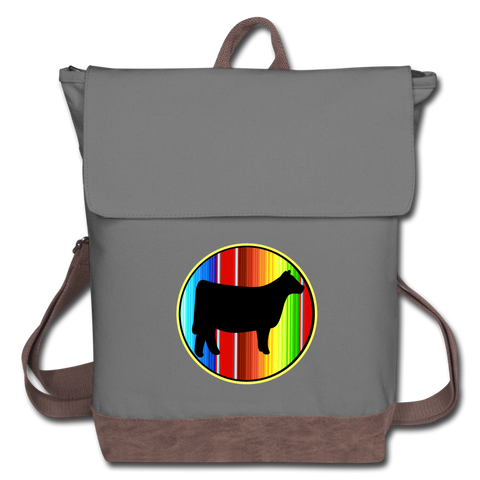 Circle Show Steer Serape Canvas Backpack - gray/brown