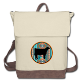 Southwest Indian Circle Show Sheer Design Canvas Backpack - ivory/brown