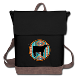 Southwest Indian Circle Show Sheer Design Canvas Backpack - black/brown