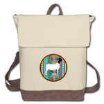 Southwest Indian Circle Show Goat Canvas Backpack - ivory/brown