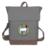 Southwest Indian Circle Show Goat Canvas Backpack - gray/brown