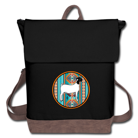 Southwest Indian Circle Show Goat Canvas Backpack - black/brown