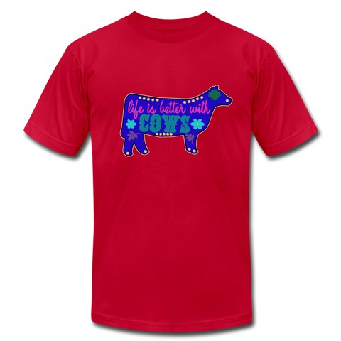Life Is Better With Cows 70's Boho HIppy Design - red