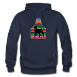 Adult Serape Cheetah Show Goat Hoodie | 4H Livestock Show Gift | Ear Tag Show Goat - navy