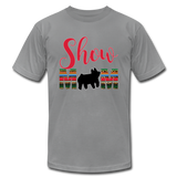 Show Mom Show Pig Bella Canvas Shirt | Livestock Show Swine | Serape Cheetah Print | 4H Mom - slate