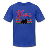 Show Mom Show Pig Bella Canvas Shirt | Livestock Show Swine | Serape Cheetah Print | 4H Mom - royal blue