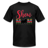 Show Mom Show Pig Bella Canvas Shirt | Livestock Show Swine | Serape Cheetah Print | 4H Mom - black