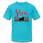 Show Mom Show Pig Bella Canvas Shirt | Livestock Show Swine | Serape Cheetah Print | 4H Mom - turquoise