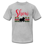 Show Mom Show Pig Bella Canvas Shirt | Livestock Show Swine | Serape Cheetah Print | 4H Mom - heather gray