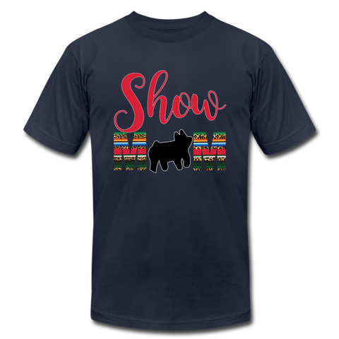 Show Mom Show Pig Bella Canvas Shirt | Livestock Show Swine | Serape Cheetah Print | 4H Mom - navy