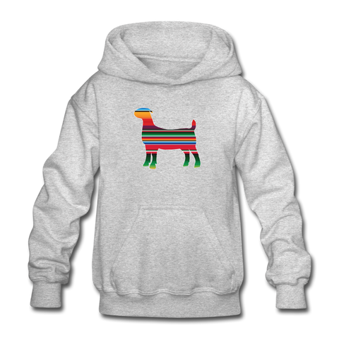 Serape Show Goat Youth Hoodie - heather gray