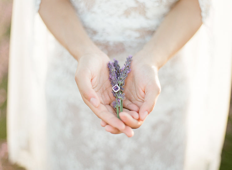 Amethyst and diamond cluster ring in Lavender Fields