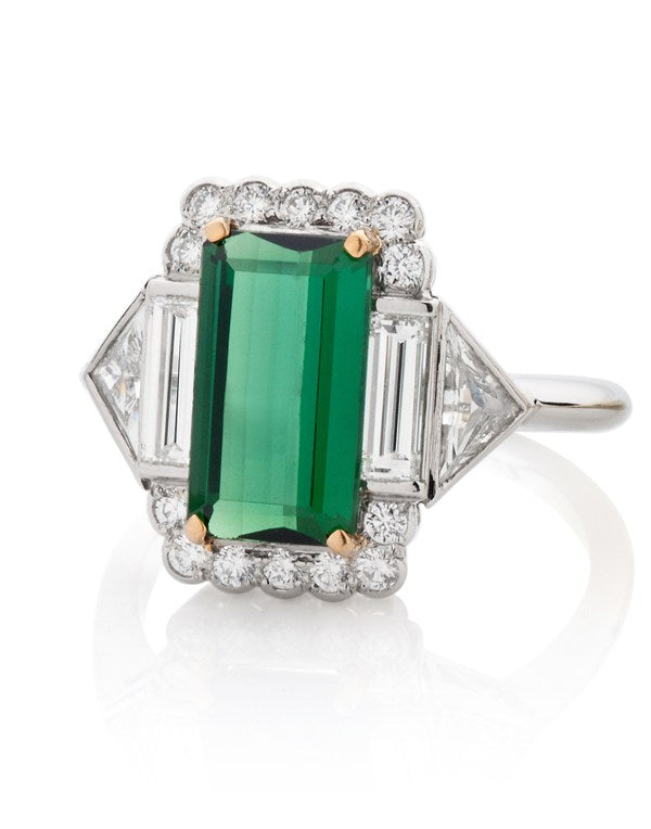 Art Deco Green Tourmaline Ring with Baguette and Trillion Diamonds