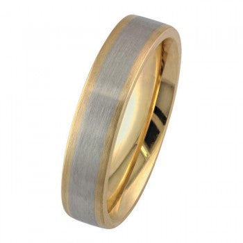 Platinum and 18ct Yellow Gold Mixed Metal Wedding Ring with Matt Brushed Finish