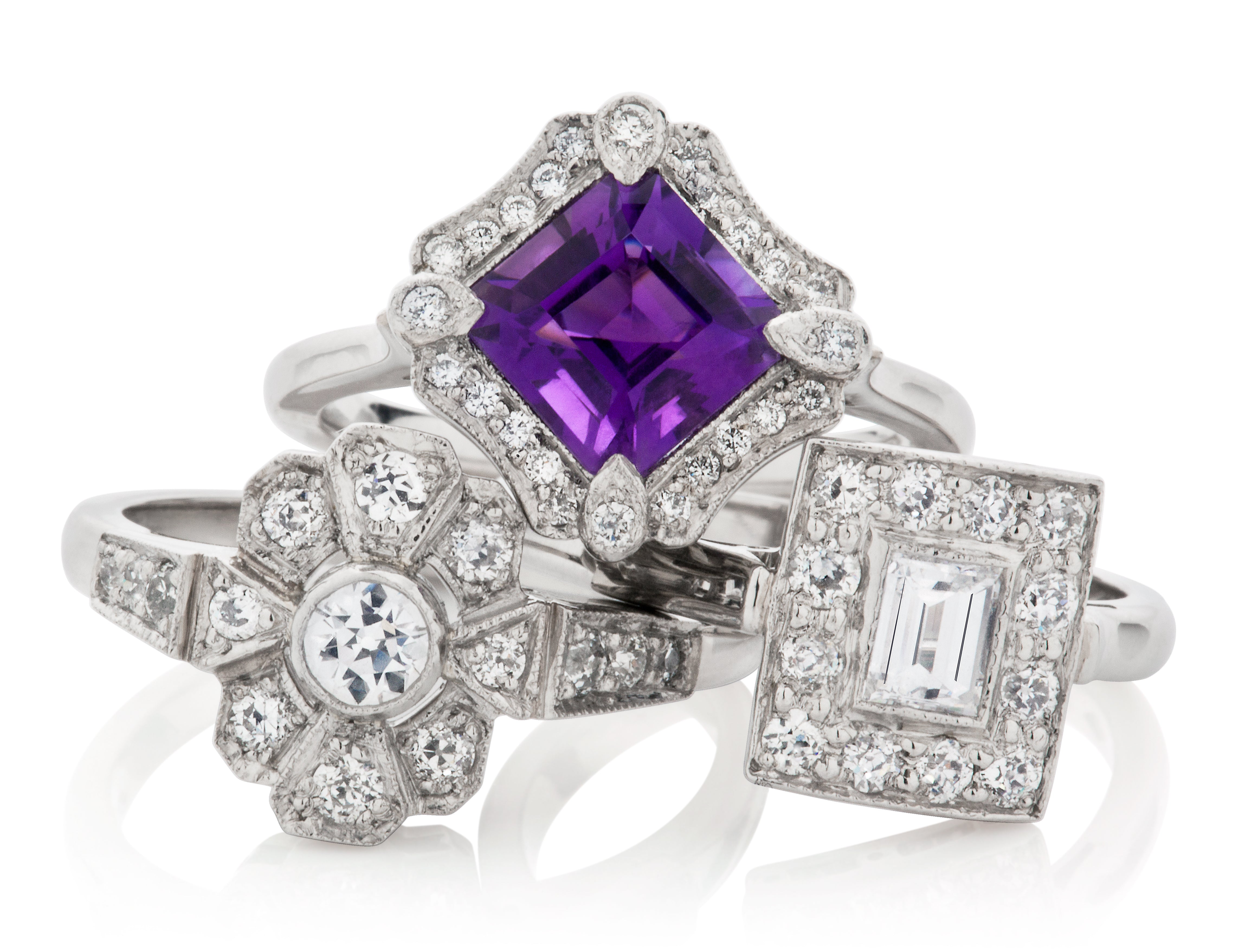 Art Deco Engagement Rings in the Cluster Style - London Victorian Ring UK