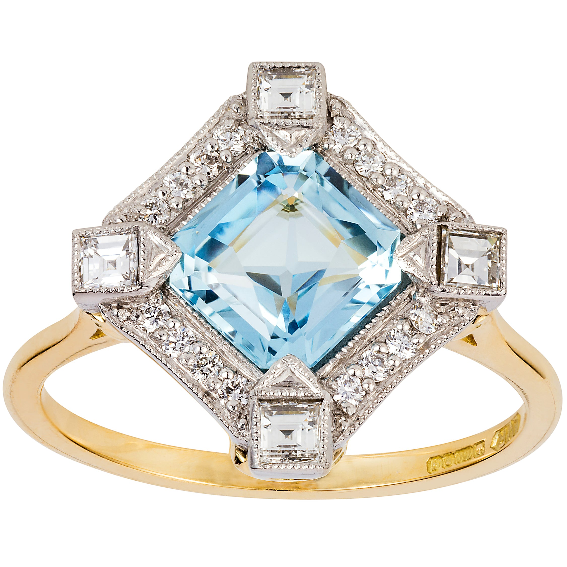 Art Deco Inspired Aquamarine and Diamond Cluster Ring in Platinum and Yellow Gold - London Victorian Ring UK