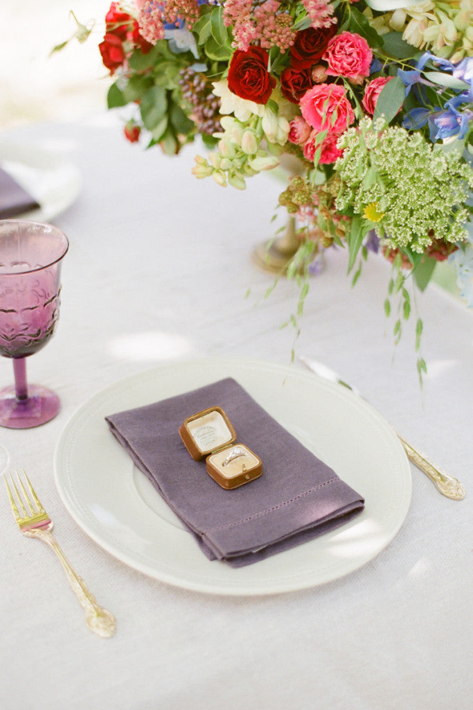 Ring on a plate for romantic proposal