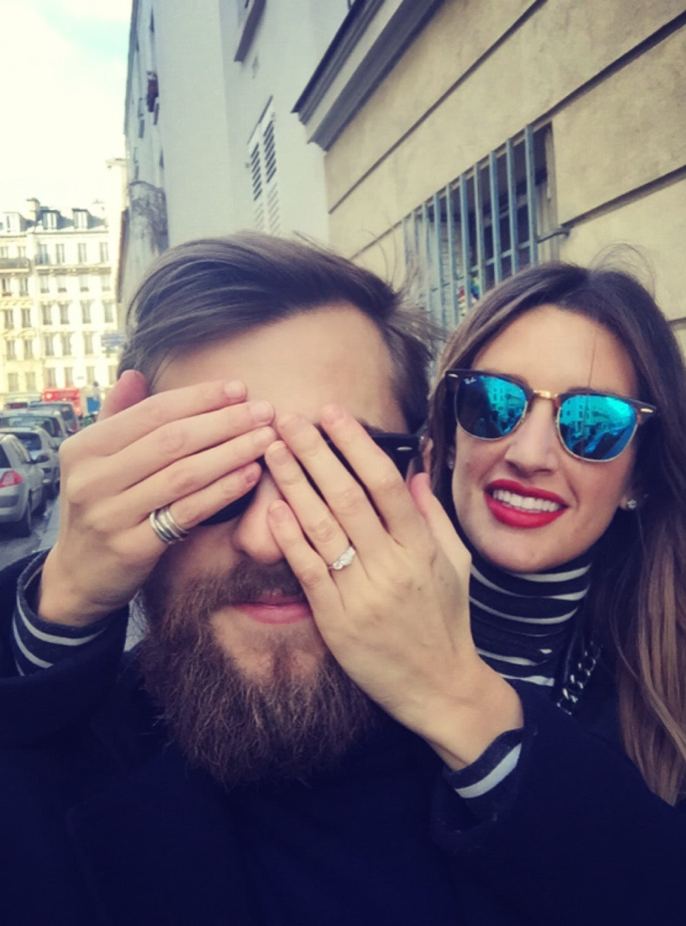 Paris Engagement with Ring from London Victorian Ring Co