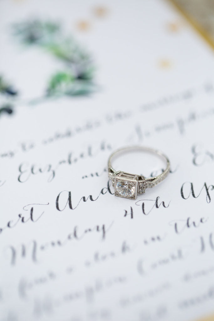 Art Deco Hand Engraved Engagement Ring in Platinum