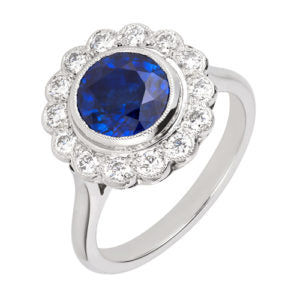 Sapphire and Diamond cluster ring instagram