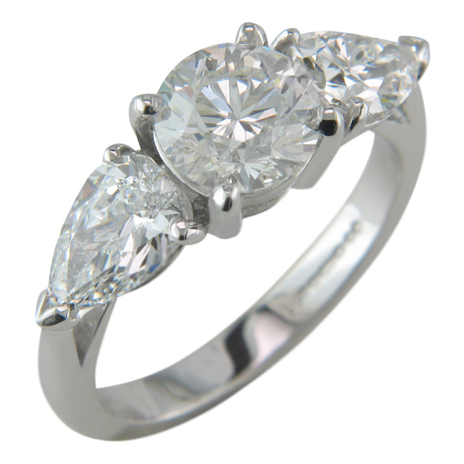 Three Stone Engagement Ring With Pear Cut Diamonds