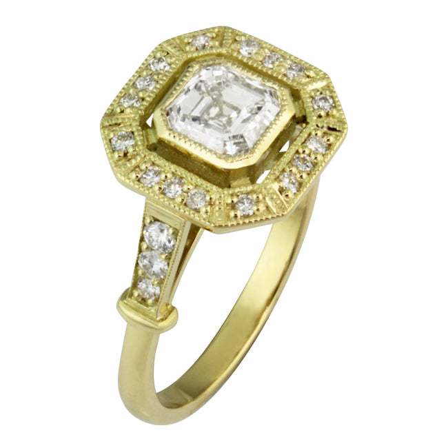 Yellow Gold and Diamond Engagement Ring - London Victorian Ring UK