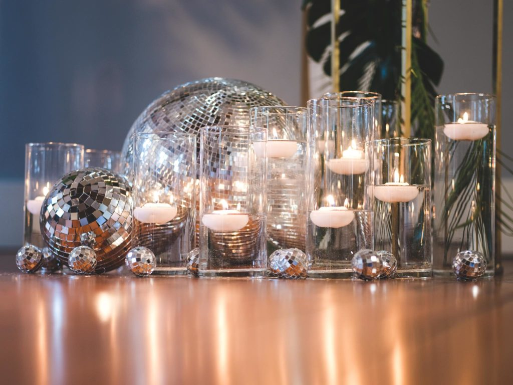 Disco Balls and Disco Music in the 1970s Nightclub Inspired Wedding