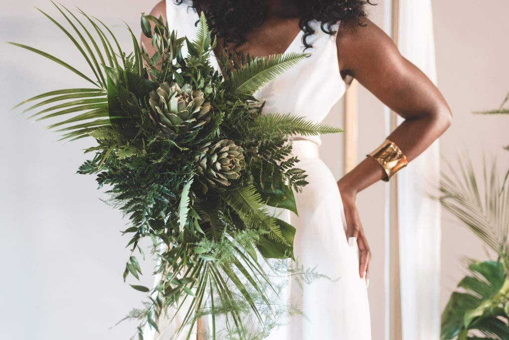 Exotic Green Bridal Bouquet with Monstera, Fern and Palm