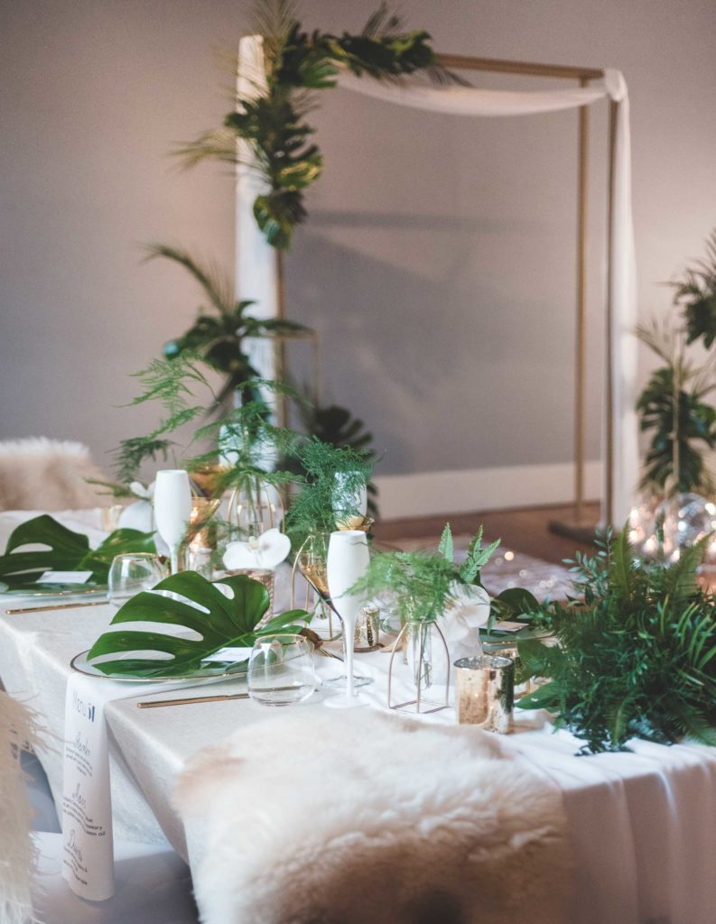 Gold, White and Green Wedding Table Design