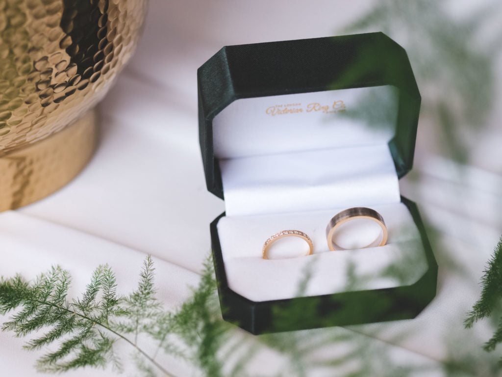 Bride and groom wedding rings from London Victorian Ring Co in Hatton Garden UK.