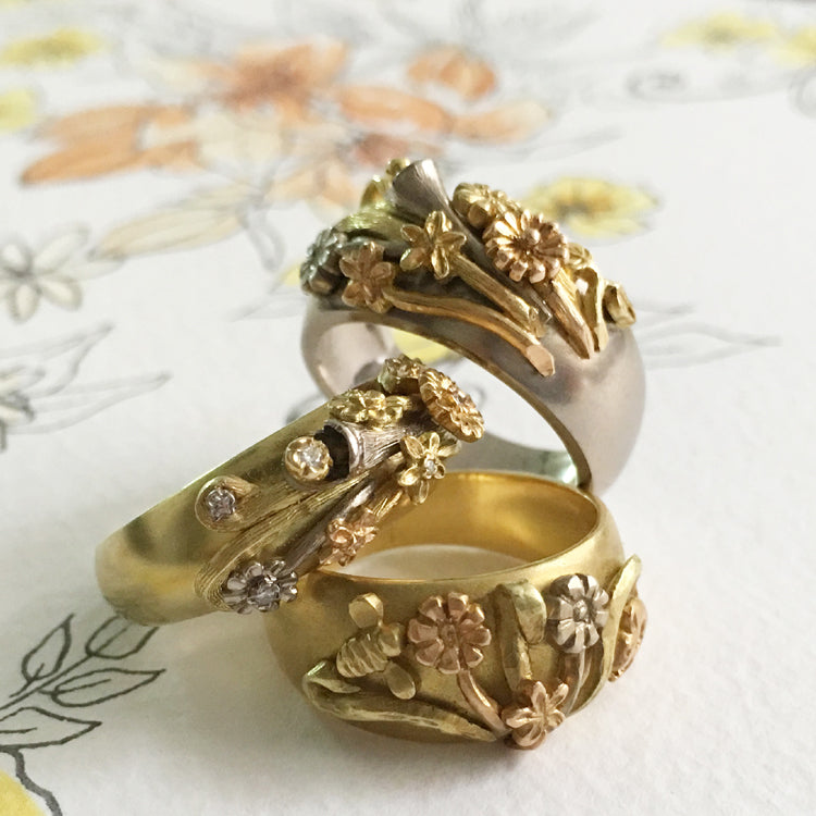 Floral rings inspired by the Victorian Language of flowers