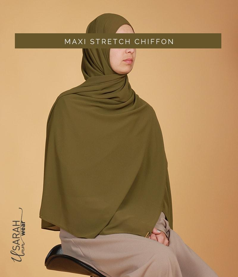 Maxi Mousseline Stretch Olive