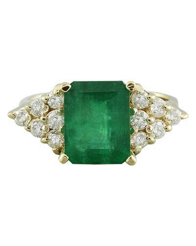3.32 Carat Emerald 14K Yellow Gold Diamond Ring