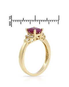 Brand New Ring with 1.49ctw of Precious Stones - diamond and ruby 14K Yellow gold