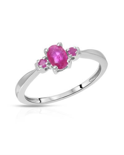 Brand New Ring with 0.61ctw of Precious Stones - ruby and ruby 925 Silver sterling silver