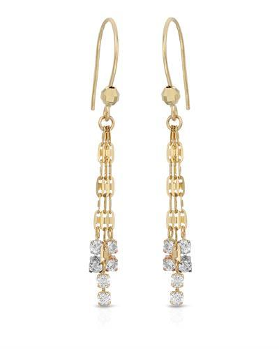 Millana Brand New Earring with 0ctw cubic zirconia 14K Three tone gold
