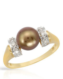 PEARL LUSTRE Brand New Ring with 0.15ctw of Precious Stones - diamond and pearl 14K Yellow gold