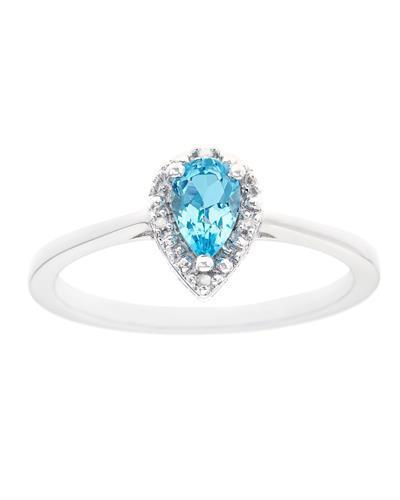 Brand New Ring with 0.51ctw of Precious Stones - diamond and topaz 925 Silver sterling silver