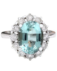 4.70 Carat Natural Aquamarine 14K Solid White Gold Diamond Ring