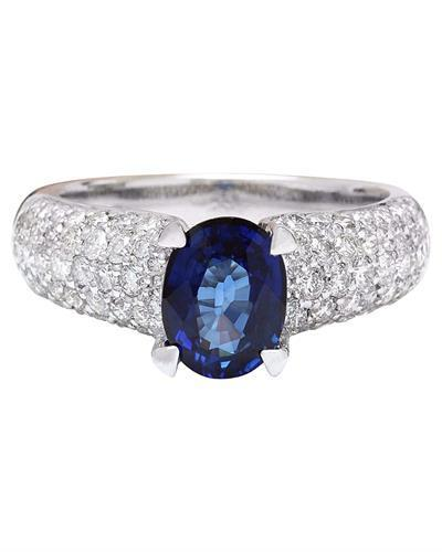2.95 Carat Natural Sapphire 14K Solid White Gold Diamond Ring