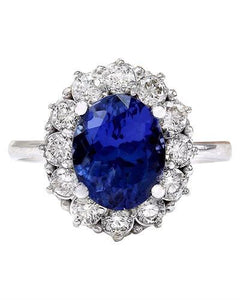 4.50 Carat Natural Tanzanite 14K Solid White Gold Diamond Ring