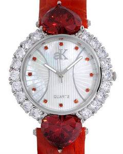 Adee Kaye ak2424-OR Brand New Japan Quartz Watch with 0ctw of Precious Stones - crystal and mother of pearl