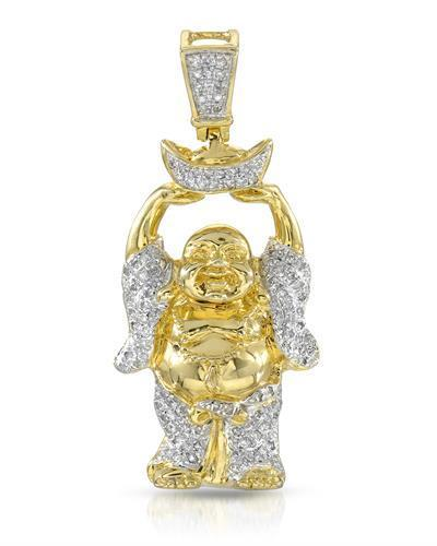 Brand New Pendant with 0.37ctw diamond 14K/925 Yellow Gold plated Silver
