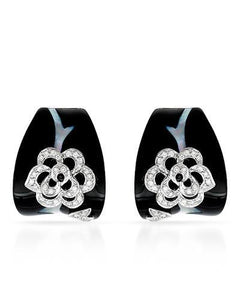 Brand New Earring with 0.37ctw of Precious Stones - diamond, mother of pearl, and onyx 18K White gold
