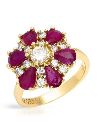 Brand New Ring with 3.72ctw of Precious Stones - diamond, diamond, and ruby 14K Yellow gold