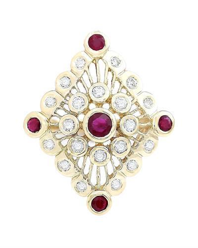 1.90 Carat Natural Ruby 14K Solid Yellow Gold Diamond Ring
