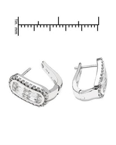 Brand New Earring with 1.13ctw of Precious Stones - diamond and diamond 14K White gold