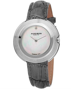 Akribos XXIV AK876GY Brand New Japan Quartz Watch with 0.01ctw of Precious Stones - diamond and mother of pearl