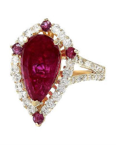 4.52 Carat Natural Ruby 14K Solid Yellow Gold Diamond Ring