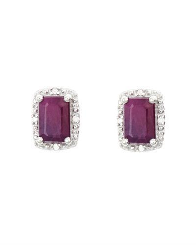 Brand New Earring with 1.32ctw of Precious Stones - diamond and ruby 925 Silver sterling silver